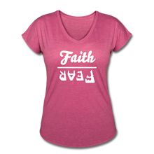 Load image into Gallery viewer, Faith Over Fear Women's Heather V-Neck Tee - heather raspberry