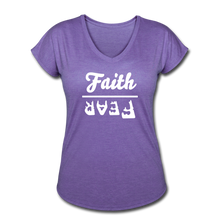 Load image into Gallery viewer, Faith Over Fear Women's Heather V-Neck Tee - purple heather