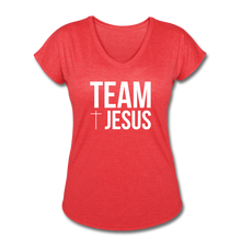 Load image into Gallery viewer, Team Jesus Women's Heather V-Neck Tee - heather red