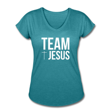 Load image into Gallery viewer, Team Jesus Women's Heather V-Neck Tee - heather turquoise