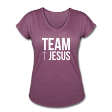 Load image into Gallery viewer, Team Jesus Women's Heather V-Neck Tee - heather plum