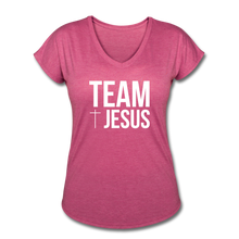 Load image into Gallery viewer, Team Jesus Women's Heather V-Neck Tee - heather raspberry