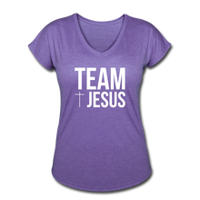 Load image into Gallery viewer, Team Jesus Women's Heather V-Neck Tee - purple heather