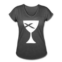 Load image into Gallery viewer, Communion Cup Women's Heather V-Neck Tee - deep heather