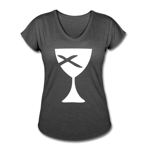 Communion Cup Women's Heather V-Neck Tee - deep heather