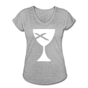 Communion Cup Women's Heather V-Neck Tee - heather gray