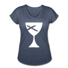 Load image into Gallery viewer, Communion Cup Women's Heather V-Neck Tee - navy heather