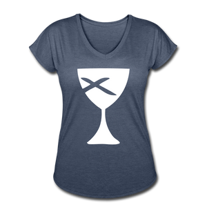 Communion Cup Women's Heather V-Neck Tee - navy heather