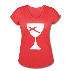 Communion Cup Women's Heather V-Neck Tee - heather red