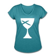 Load image into Gallery viewer, Communion Cup Women's Heather V-Neck Tee - heather turquoise