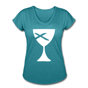 Communion Cup Women's Heather V-Neck Tee - heather turquoise