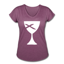 Load image into Gallery viewer, Communion Cup Women's Heather V-Neck Tee - heather plum