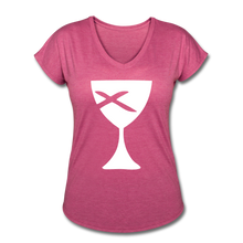Load image into Gallery viewer, Communion Cup Women's Heather V-Neck Tee - heather raspberry