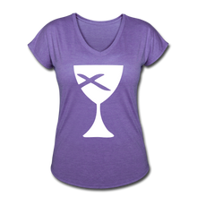 Load image into Gallery viewer, Communion Cup Women's Heather V-Neck Tee - purple heather