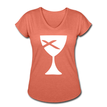 Load image into Gallery viewer, Communion Cup Women's Heather V-Neck Tee - heather bronze