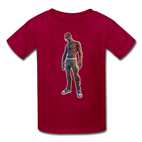 Travis Scott Kid's Fortnite Video Game T-Shirt - dark red