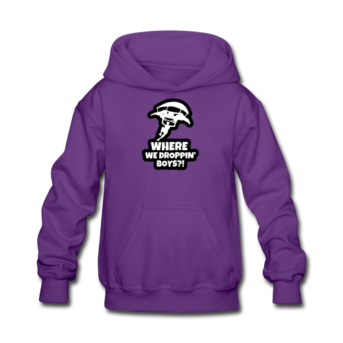 Where We Droppin' Hoodie Kid's Fortnite Video Game Sweatshirt - purple