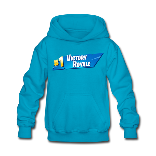 Victory Royale Hoodie Kid's Fortnite Video Game Sweatshirt - turquoise