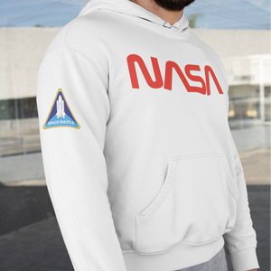 NASA Worm Logo Space Shuttle Limited Edition White Hoodie Sweatshirt with Printed Sleeves