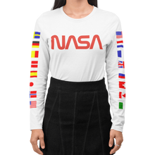 Load image into Gallery viewer, 2020 Limited Edition NASA Worm Logo Long Sleeve T-Shirt with ISS Flags on Sleeves