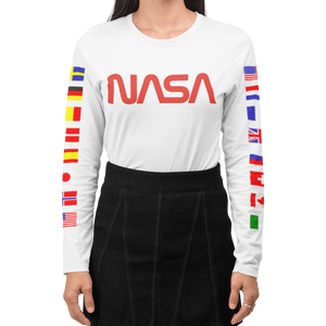 2020 Limited Edition NASA Worm Logo Long Sleeve T-Shirt with ISS Flags on Sleeves