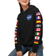 Load image into Gallery viewer, NASA Astronaut Group 16 Black Hoodie Sweatshirt with Flags on Sleeves
