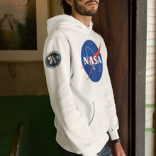 Load image into Gallery viewer, NASA Insignia Meatball Logo Apollo Program Limited Edition White Hoodie Sweatshirt with Printed Sleeves