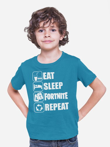 Eat Sleep Fortnite White Design  Kid's   Video Game T-Shirt