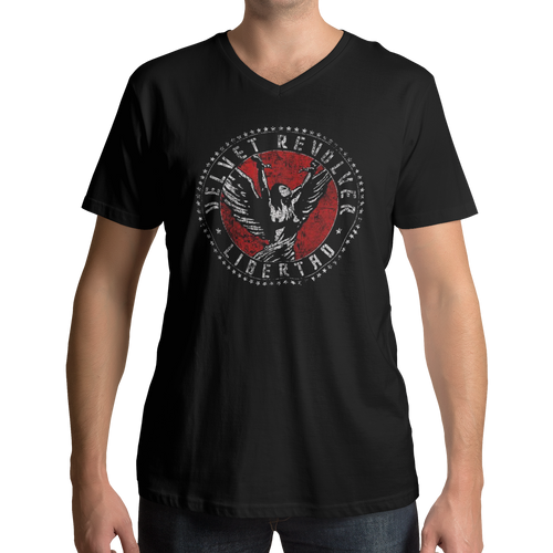 Velvet Revolver Circle Logo V Neck Band T-Shirt