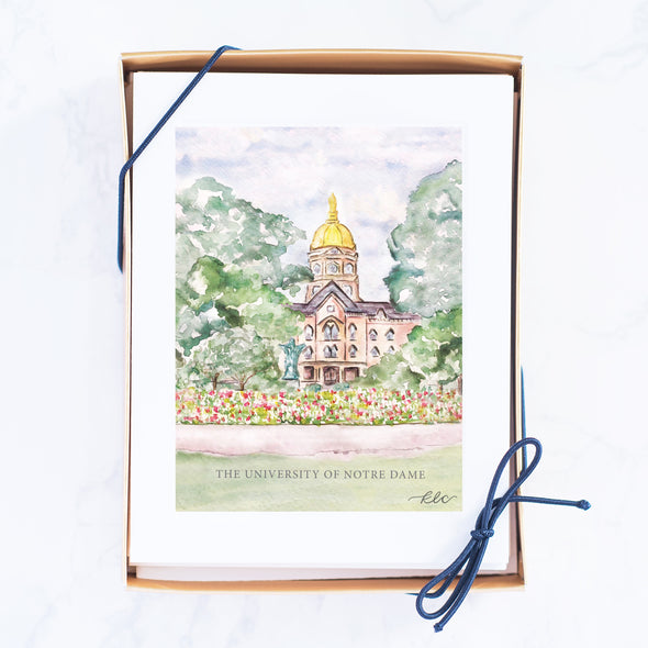 University of Notre Dame Watercolor Dome Note Card Set, The Golden Dome