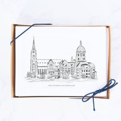 University of Notre Dame Hand-drawn Sketch Note Cards, The Basilica and The Dome