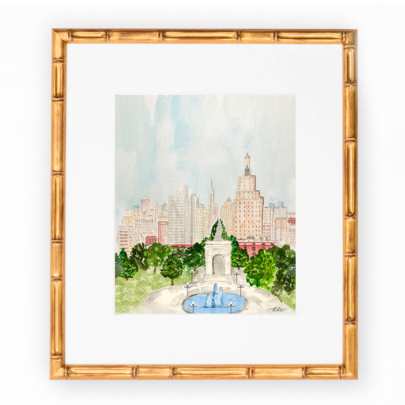 NYU Watercolor Art Print, Washington Square Park