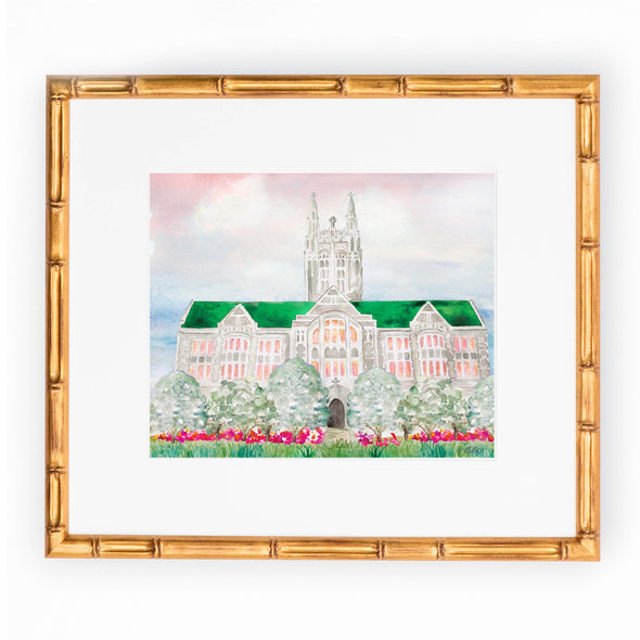 "Boston College Watercolor Art Print, ""Boston College at Sunset"""