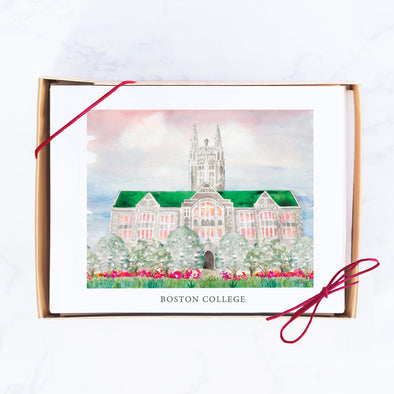 "Boston College Watercolor Note Card Set, ""Boston College at Sunset"""