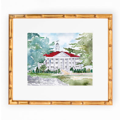 "James Madison University Watercolor Art Print - ""Wilson Hall In Fall"""