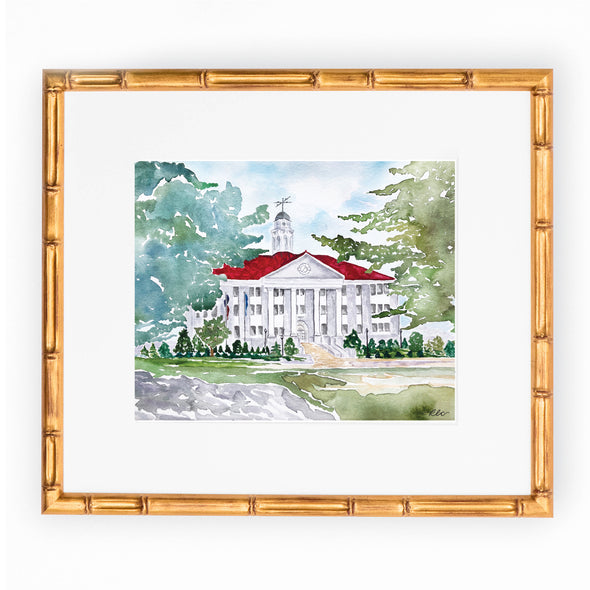 "JMU Watercolor Art Print - ""Wilson Hall In Fall"""