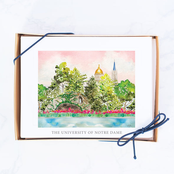 University of Notre Dame Watercolor Note Card Set, The Grotto, The Dome & The Basilica