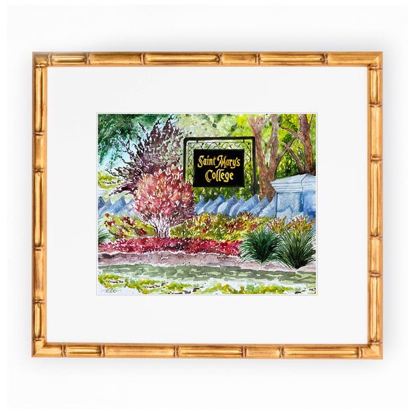 "Saint Mary's College Watercolor Art Print - ""Welcome Home"""