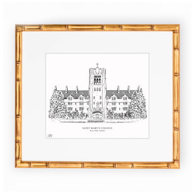 "Saint Mary's College Black and White Art Print - ""Le Mans Hall"""