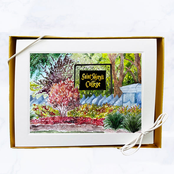 "Saint Mary's College Watercolor Note Card Set - ""Welcome Home"""