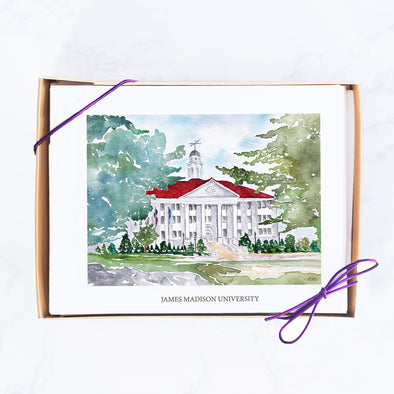 James Madison University Watercolor Note Card Set, Wilson Hall