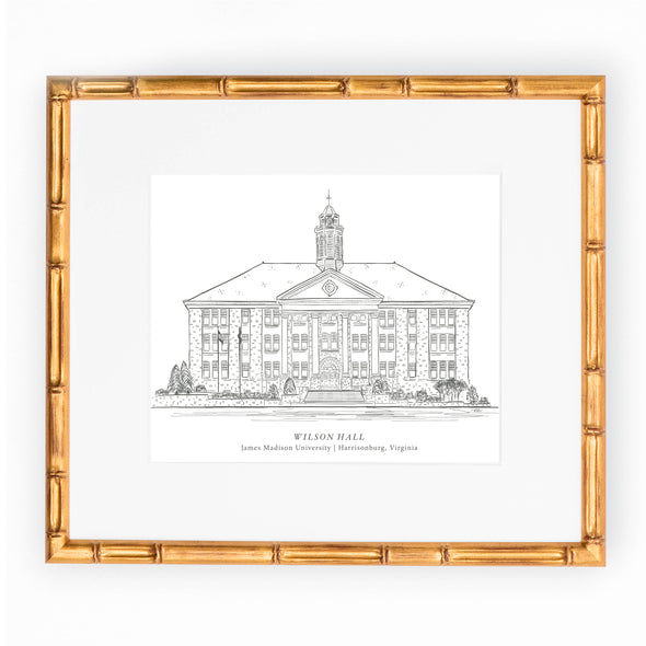 "JMU Black & White Art Print, ""Wilson Hall"""