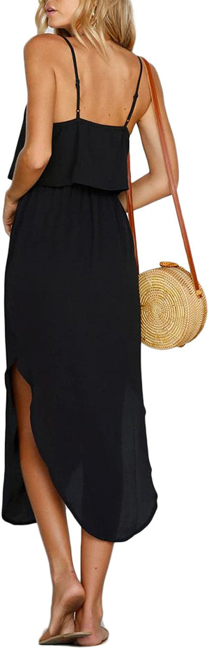Adjustable Strappy Split Summer Beach Casual Midi Dress - Shopstergeek