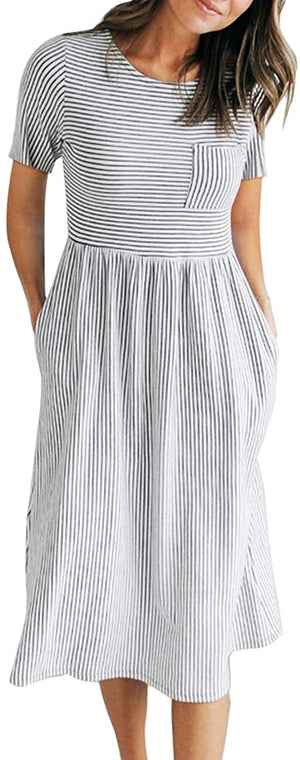Balloon Sleeve Striped High Waist T Shirt Midi Dress with Pockets - Shopstergeek