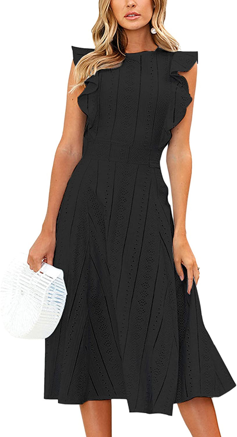 Elegant Ruffles Cap Sleeves Summer A-Line Midi Dress - Shopstergeek