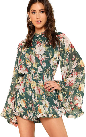 Floral Printed Ruffle Bell Sleeve Loose Fit Jumpsuit Rompers - Shopstergeek