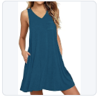 Summer Beach Sleeveless Swing T-Shirt Dress Loose Tank Dress with Pockets - Shopstergeek