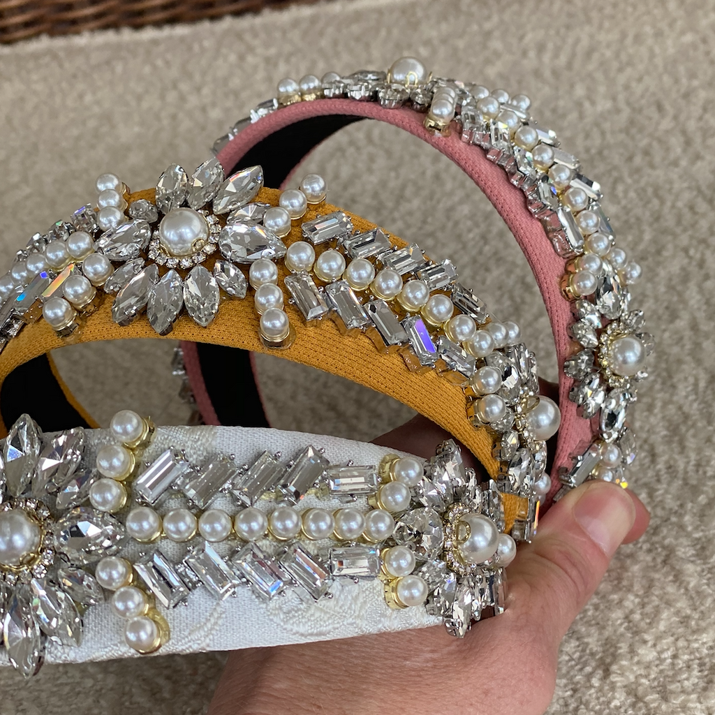 Pink, Mustard & White Crystal Alice Headbands