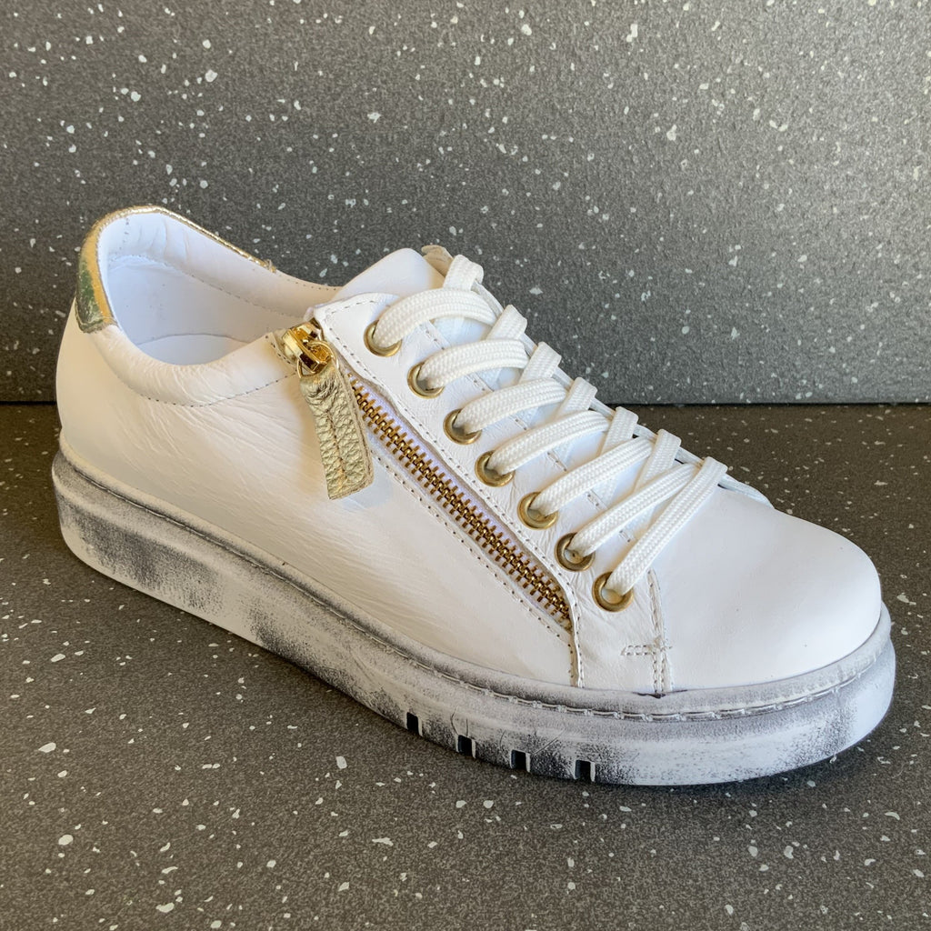 Tatter, White / Gold Sneaker