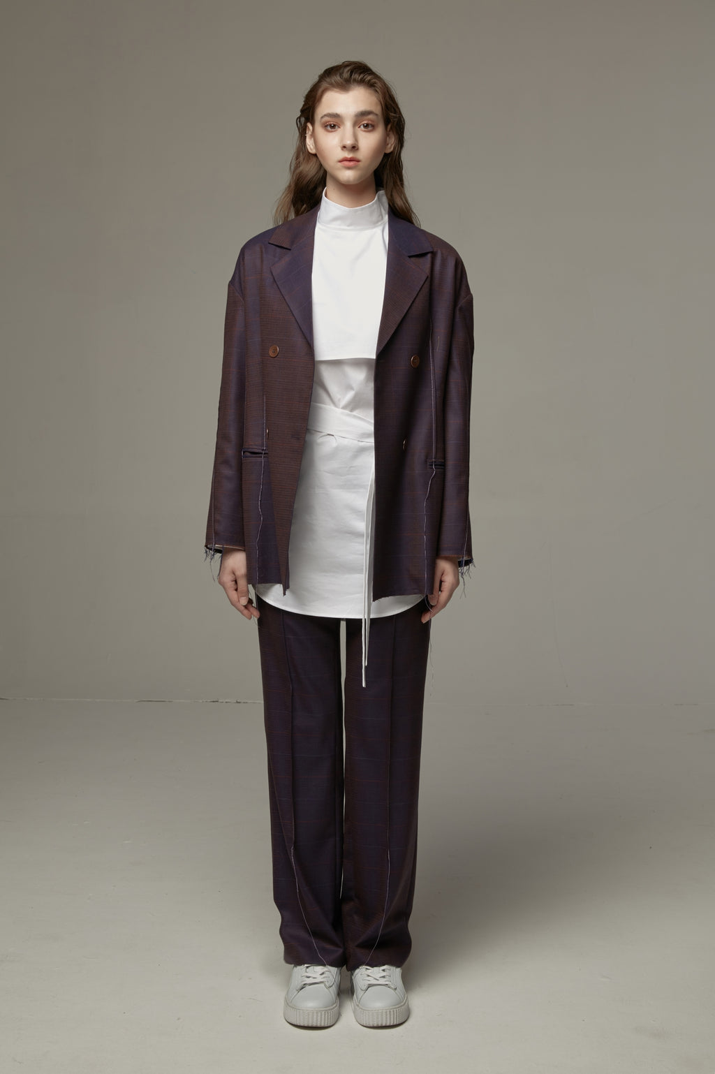 Jason Liu mineral purple plaid trousers